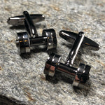 Black and Silver Dumbbell Cufflinks