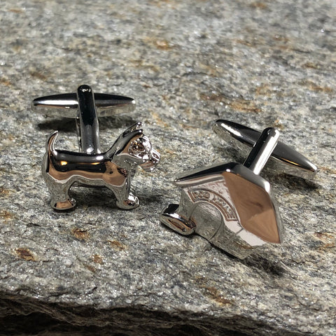 Silver Doghouse and Dog Cufflinks