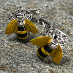 Yellow and Silver Bee Cufflinks