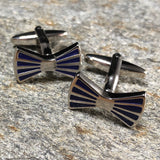 Blue and Silver Bowtie Cufflinks