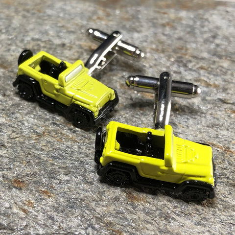 Yellow Jeep Cufflinks