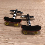 Brown Skateboard with Yellow Wheels Cufflinks