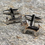 Silver Terrier Dog and Bone Cufflinks