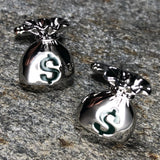 Silver Moneybag with Green Dollar Symbol Cufflinks