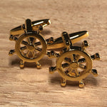 Gold Ships Helm Wheel Cufflinks