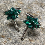 Silver and Green Palm Tree Cufflinks