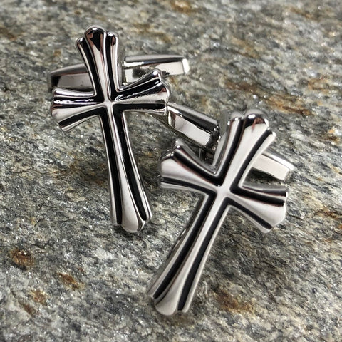 Silver Cross with Black Accent Cufflinks