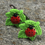 Red Laybug on a Green Leaf Cufflinks