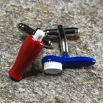 Blue Toothbrush and Red Toothpaste Cufflinks