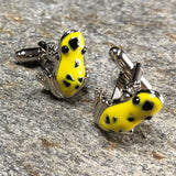 Yellow and Silver Poison Frog Cufflinks
