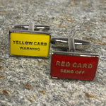 Red and Yellow Soccer Referee Card Cufflinks