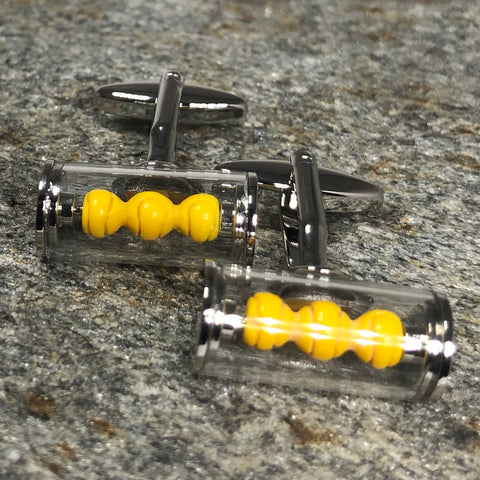 Silver and Yellow Box of Tennis Balls Cufflinks