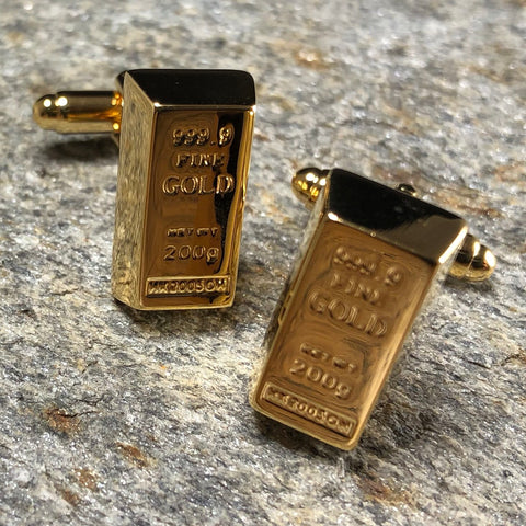 Gold Replica Bullion Bar Cufflinks