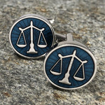 Silver and Blue Scales of Justice Cufflinks