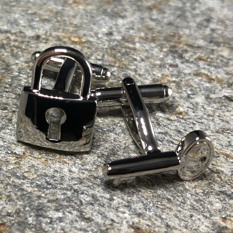 Silver Lock and Key Cufflinks