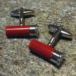 Red and Silver Shotgun Shell Cufflinks