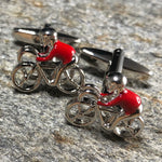 Silver and Red Cyclist Cufflinks
