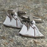 White and Brown Clipper Ship Cufflinks