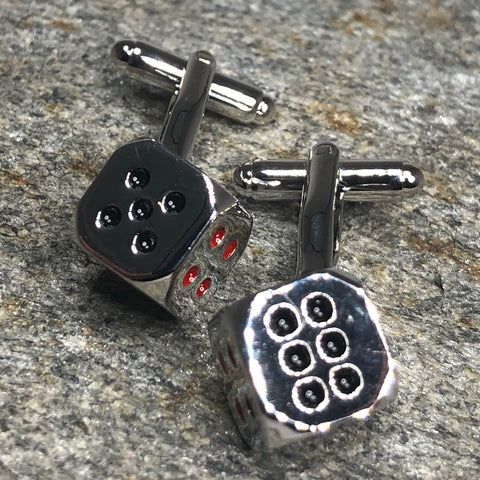 Silver Dice With Accents Cufflinks