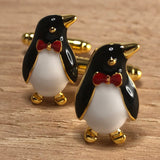 Gold Penguin with Red Bowtie Cufflinks