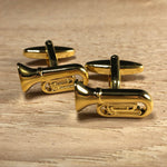 Gold Tuba Instrument Cufflinks