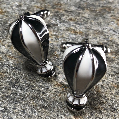 Black and White Hot Air Balloon Cufflinks