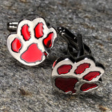 Red and Silver Dog Paw Print Cufflinks