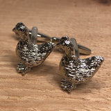 Silver Chicken Cufflinks