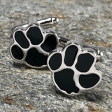 Black and Silver Dog Paw Print Cufflinks