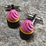 Brown and Pink Cupcake Cufflinks