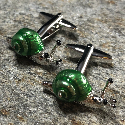 Green and Silver Snail Cufflinks