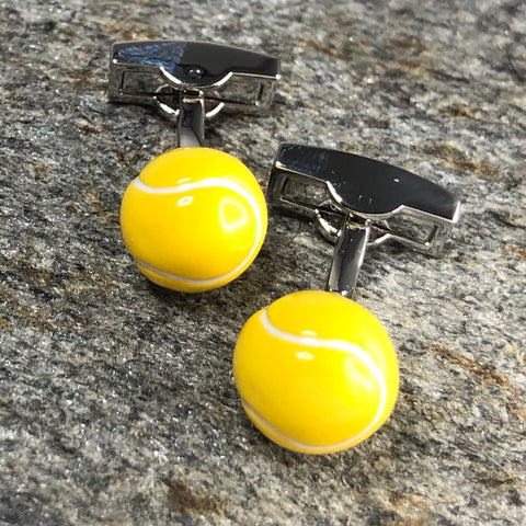 3D Yellow Tennis Ball Cufflinks