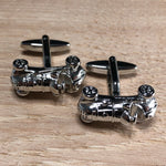 Silver Retro Race Car Cufflinks
