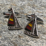 Red, Yellow and Black Racing Yacht Cufflinks