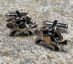 Silver and Black Cancer Zodiac Symbol Cufflinks