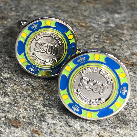 Green Montecarlo Poker Chip Cufflinks