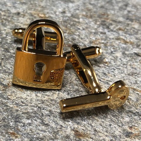 Gold Lock and Key Cufflinks