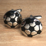 Silver and Black Soccer Ball Cufflinks