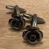 Gunmetal Grey Rose Flower Cufflinks