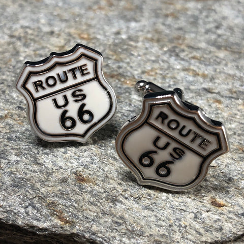 White and Black Route 66 Shield Cufflinks