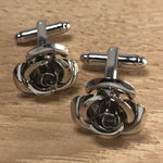 Silver Rose Flower Cufflinks