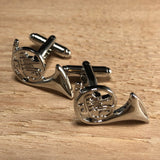 Silver French Horn Instrument Cufflinks