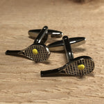 Silver and Black Tennis Racket Cufflinks