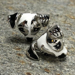 Silver and White Jack Russel Dog Head Cufflinks