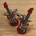 Red and Gold Electric Guitar Cufflinks