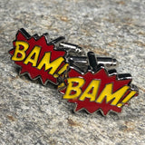 Red and Yellow BAM Comic Book Text Cufflinks