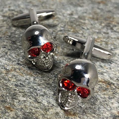 Silver Skull with Red Crystal Eyes Cufflinks