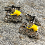 Silver and Yellow Cyclist Cufflinks