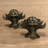 Bronze Mechanic Skull Cufflinks with Crossed Wrenches