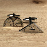 Silver Protractor and Angle Cufflinks